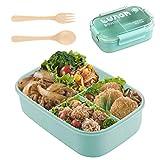 Fiambrera de Seguridad de Trigo Natural de 1100 ml Caja de Bento con Compartimentos, Bento Box para Niños, Fiambreras Bento,Lunch Box y Ideal Food Box para Niños y Adultos Snacks (Green)
