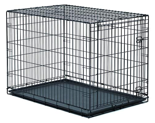 New World 42 Inch Folding Metal Dog Crate, Includes Leak-Proof Plastic Tray; Dog Crate Measures 42L x 30W x 28H Inches, Fits Large Dog Breeds