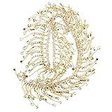 Jopwkuin Aplique de Novia con Flecos, para Aplicaciones de cinturón de Novia, Accesorios de Manualidades de Bricolaje, Cadena de Diamantes de imitación Brillante(Golden AB Color)