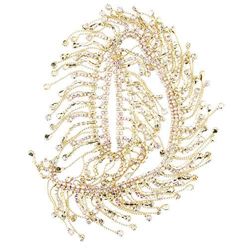 Cadena de Flecos de Diamantes de imitación, Hermosa Cadena de borlas de Diamantes de imitación, Trajes de Baile Latino Disfraces de Danza del(Golden AB Color)