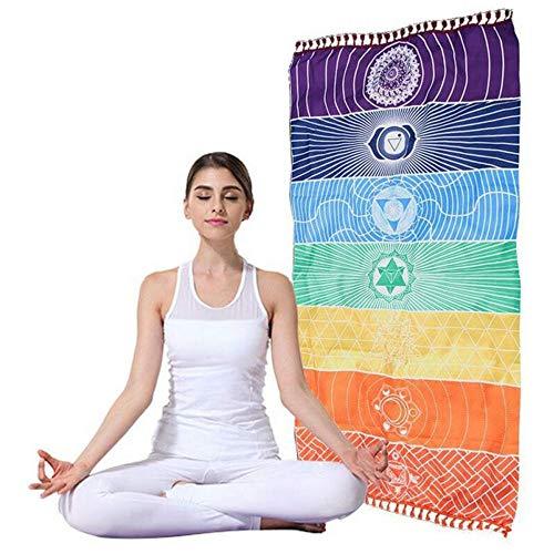 NoBrand yogamat, voor gymnastiek, regenboog, uniek, mandala-mat, boho-strepen, yogamat, outdoor