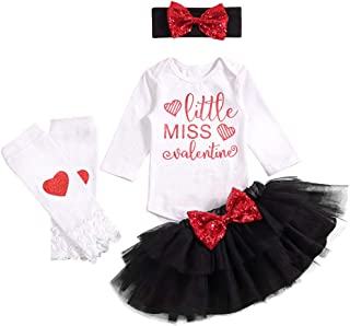 US 2019 Newborn Baby Girl Clothes Valentine/'s Day Gift Romper Tutu Outfits 3PCS
