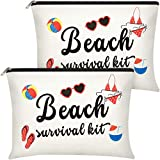 2 Pieces Beach Survival Kit Makeup Bag for Women, Funny Toiletry Bag Accessories Organizer Gifts Canvas Travel Cosmetic Cases for Sister, Friend, Wife, Mom