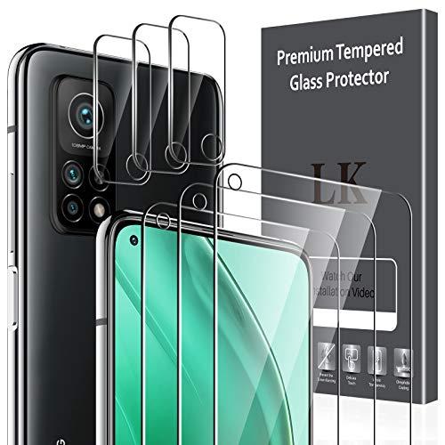 LK Compatible con Xiaomi Mi 10T 5G/10T Pro 5G Protector de Pantalla,3 Pack Cristal Templado y 3 Pack Protector de Lente de cámara, Doble protección