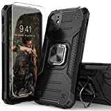 IDYStar iPhone 11 Case with Tempered Glass Screen Protector, Hybrid Drop Test Cover with Card Mount Kickstand Slim Fit Protective Phone Case for iPhone 11 6.1 Inch (Black)