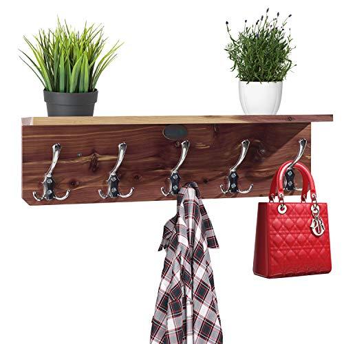 Kudos Homeware - Perchero de pared con ganchos, estante de madera de 58,4 cm con 5 ganchos, perfecto para entrada, cocina, armario, baño, toallero, cuarto de lavado, por pared