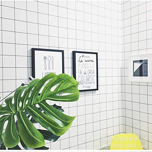 Dormitorio sala de estar papel tapiz de pared grueso papel pintado autoadhesivo impermeable cuadros blancos y negros simples 0.6m * 10m rejilla en blanco y negro 60 cm de ancho