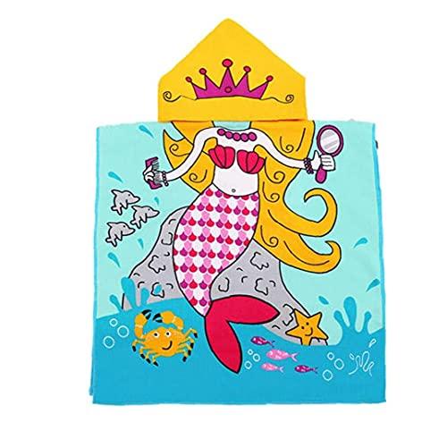 fregthf Sudadera con Capucha para la Toalla de Playa de natación Encantador de Dibujos Animados Capa Albornoz para Chicos, Chicas Azul
