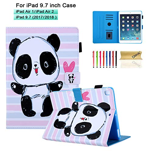 Dteck Case for iPad 9.7 2018/2017, iPad Air 5th Gen/6th Gen Case with Pencil Holder- for Kid/Girl Cute Cartoon Slim Fit PU Leather Folding Stand Cover Smart Wake/Sleep Case, Cute Baby Panda