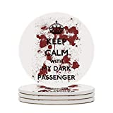 Round Ceramic Stone Coaster Set of 4 Keep Calm Passenger Dexter Round Coaster Drink Absorption Coaster with Cork Base (3.9 inches)