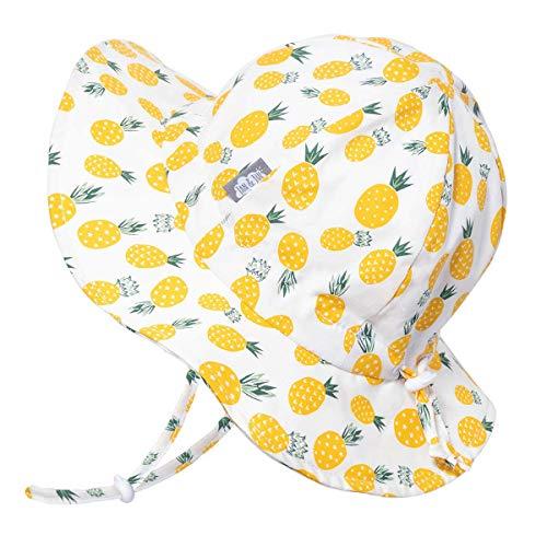 Jan & Jul Baumwolle Sonnenhut for Kleinkind Jungen or Mädchen, 50 LSF, Kordelzug Größenverstellbar (M: 6-24 Monate, Gelbe Ananas)