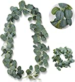 BOYATONG Künstliche Eukalyptus 1 Stück,Künstlich Pflanze Blätter Deko Girlande Hochzeit Eukalyptus Kranz für zu Hause Küchen Garten Büro Hochzeit oder als Wanddekoration