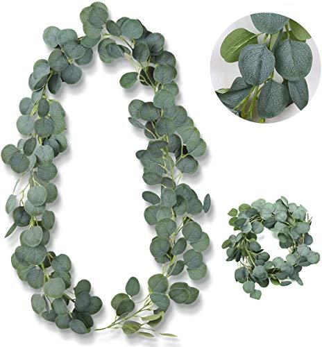 BOYATONG Guirnalda de hojas de eucalipto artificiales, 1 unidad, para decoración de boda, corona de eucalipto para casa, cocina, jardín, oficina, boda o como decoración de pared