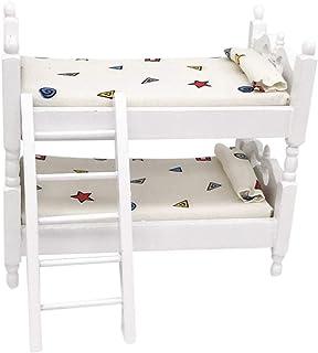 مبلمان عروسکی BYyushop تختخواب دو نفره ، دکوراسیون اتاق کودک 1/12 خانه عروسکی مینی تختخواب سفارشی اتاق نشیمن دکوراسیون مبلمان بچه ها تظاهر بازی اسباب بازی سفید هندسی