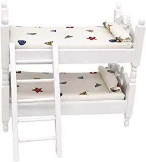 BYyushop Doll House Furniture Double Stacking Bed, Children's Room Decoration 1/12 Mini Doll House Bunk Bed Living Room Furniture Decor Kids Pretend Play Toy White Geometric