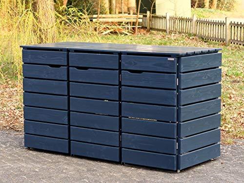 3er Mülltonnenbox / Mülltonnenverkleidung 240 L Holz, Deckend Geölt Anthrazit Grau - 2