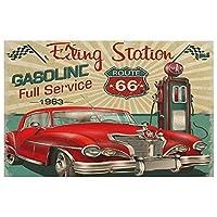 古典的な赤い車1960年代の給油所ガソリンルート66 1963 66 足ふき マット 玄関マット 速乾 吸水性 滑り止め 洗濯機 キッチン 浴室 洗面所 付 防ダ デオドラント ファッションマット 長方形23.6x15.7in