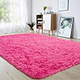 junovo Ultra Soft Area Rugs, Fluffy Carpets for Bedroom Kids Girls Boys Baby Living Room Shaggy Floor Nursery Rug Home Decor Mats, 4 x 5.3ft Hot-Pink