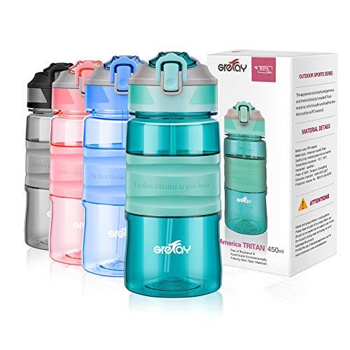 Grefay Trinkflasche Strohhalm Sport Wasserflasche Trinkhalm Draussen 650ml 450ml BPA frei Kunststoff Auslaufsicher Wasserflasche für Fahrrad Gym Laufen Camping Outdoor Männer Frauen Kinder