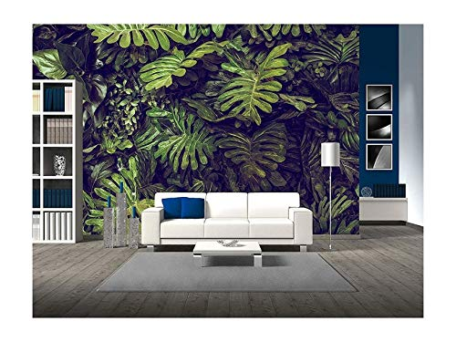 wall26 - Green Monstera Leaves Texture for Background - Top View - in Dark Tone. - Removable Wall Mural | Self-Adhesive Large Wallpaper - 66x96 inches