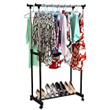 PAVILION MALL Portable Foldable Stainless Steel Double Pole Telescoplc Clothes Rack, Clothes