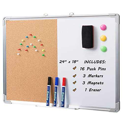 "Marble Field 24"" x 18"" Magnetic Whiteboard & Cork Board Combo Board Set, Wall Mounted Notice Bulletin Board Dry Erase/Cork Board Combination with Aluminum Frame"