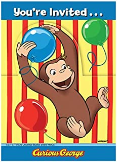 Curious George Party Invitations, 8ct