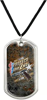 Protect The 2nd Amendment Patriotic Red White Blue Military Dog Tag Pendant Necklace with Cord