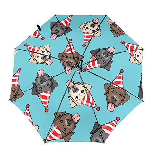 Cute Happy Labrador Retriever Birthday Dog Breed - Red On Blue Light Compact Parasol with UV Protection for Men Women