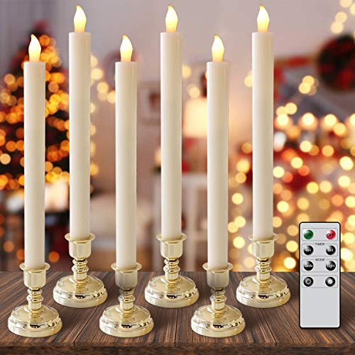 DRomance Set of 6 Flameless Taper Candles with Remote and 4H/8H Timer, Real Wax Ivory Candles LED Window Candles with 6 Gold Holders for Home and Wedding Decoration