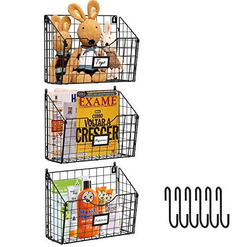 X-cosrack 3 Tier Hanging Metal Wire Basket Bin with 6 Hooks Foldable Wall Mount File Holder Sorter Magazine Mail Rack Fruit Organizer Foyer Storage for Kitchen Bathroom Entryway GarageOffice-3 Pack