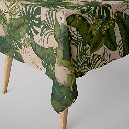 SCHÖNER LEBEN. Mantel con aspecto de lino Royal Cockatoo, hojas de palmera, cacato, natural, verde y amarillo, diferentes tamaños, tamaño de mantel: 130 x 200 cm