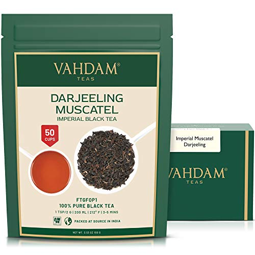 VAHDAM, FRESH HARVEST- Imperial Darjeeling Tea Loose Leaf (50 Cups) | LIMITED EDITION MUSCATEL FLAVOUR - High Grown in Select Organic Tea Estates | 100% Certified Pure Unblended | 3.53oz