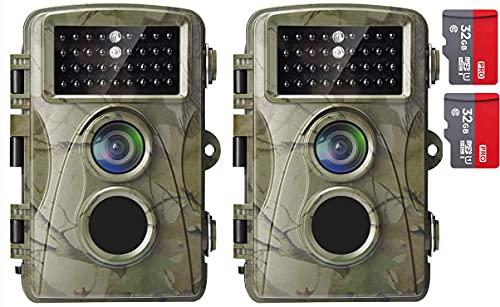 AlfaView Wildkamera 12MP 1080P Wildlife Pfadpfinder Jagdkamera Motion Bewegungsaktiviert Nachtsichtspiel Cam mit 2,4 Zoll LCD Display IP56 Wasserdichtes Design für Jadg und Heimsicherheit(2 X Pack)