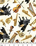 Fat Quarter Concerto 'Tossed Instruments'Crm, Baumwolle, 50