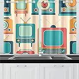 Zemivs Televisión Vintage Old Fashion Kitchen Cortinas Cortinas de Ventana Niveles para café Baño Servicio de lavandería Sala de Estar Dormitorio 26x39 Pulgadas 2 Piezas