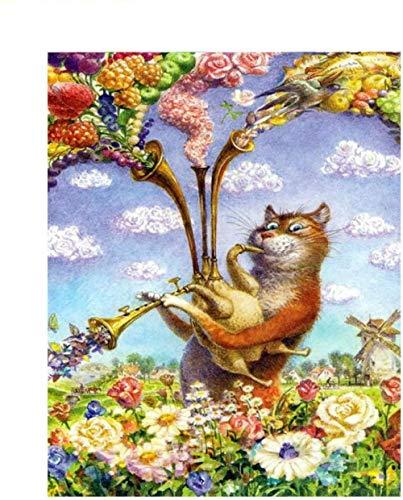 Schilderen op nummer DIY digitale olieverfschilderij trompet kattenafbeelding tekening op canvas door middel van kleuren handwerk 40 x 50 cm