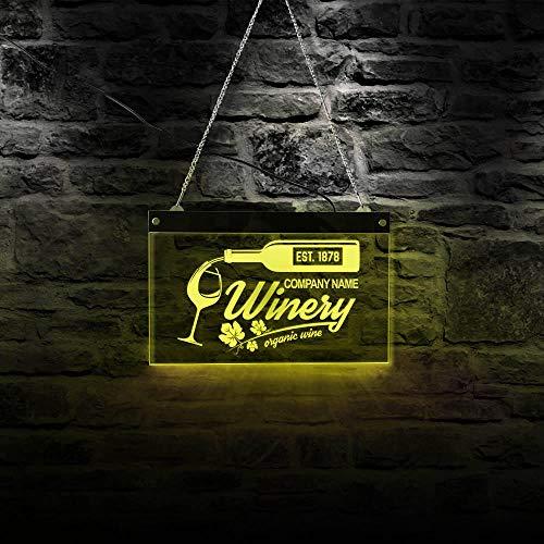 QERTYU Biologische wijn LED-verlichting Neonreclame Wijnmakerij Decor Bar Pub Alcohol Acryl hangende bord @ 40x30cm