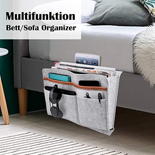 Betttasche, Sofa Organizer | Filz Bettablage, Anti-Rutsch Nachttisch Tasche für Buch, Zeitschriften, iPad, Handy, Fernbedienung | 5 Taschen & Seitenloch für Aufladungskabel - 32cm X 24cm (Grau2)