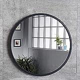 Espejo de Baño Redondo de Pared, Espejo de Tocador de Maquillaje para Baño, Sala de Estar, Dormitorio, con Marco de Metal, Negro, Dorado, Plateado, (Color : Black, Size : 70cm)