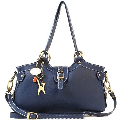 Catwalk Collection Handbags - Leder - Umhängetasche/Schultertasche - Handtasche mit Schultergurt - NICOLE - Marine Blau