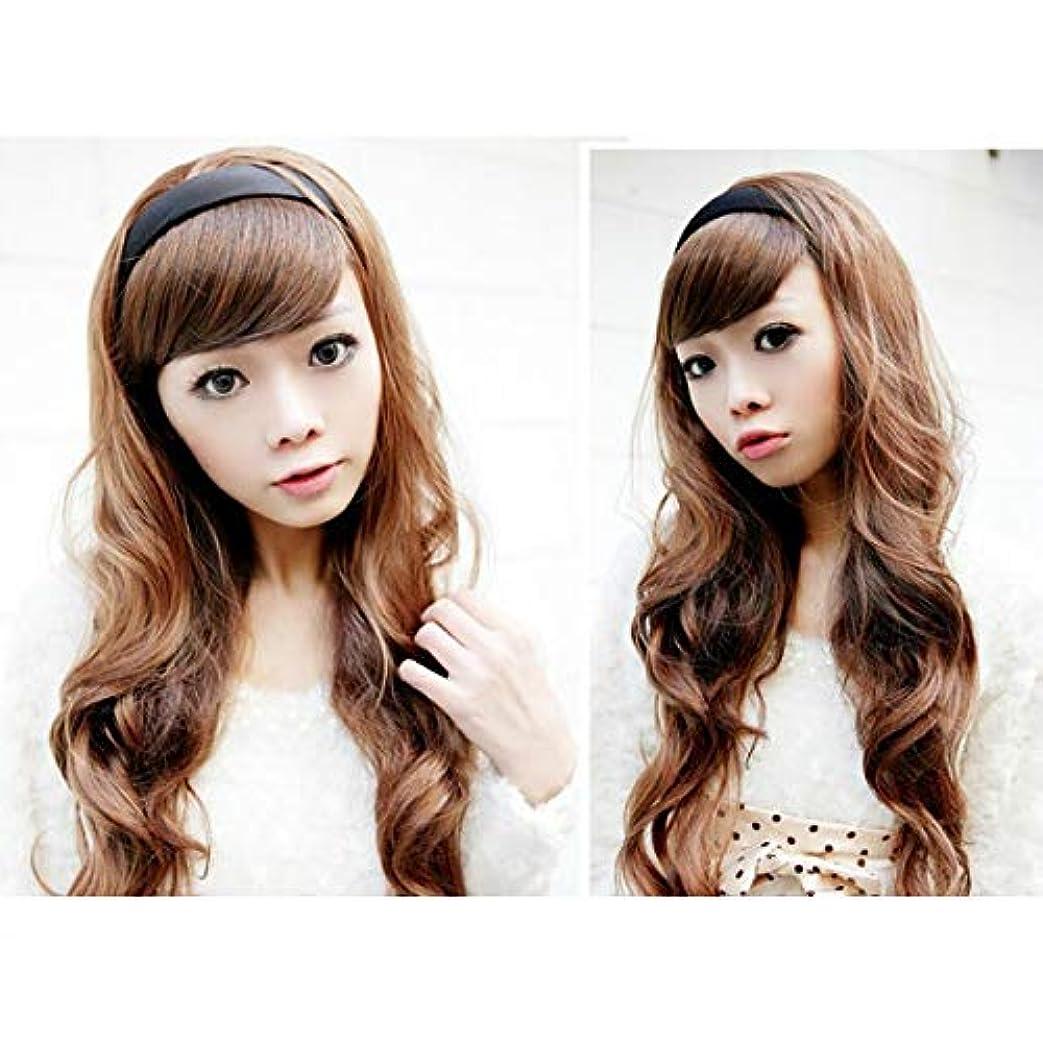 農民シャワー契約YZUEYT 女性の毛のウィッグは、黒いフープのヘッドブランドと長い波状 YZUEYT (Color : Color Dark Brown, Size : One size)