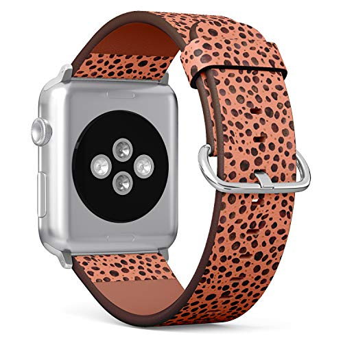 [ Compatible with Small Apple Watch 38mm / 40 mm ] Replacement Leather Band Bracelet Strap Wristband Accessory // Watercolor Cheetah