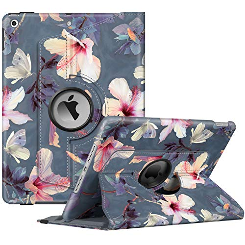 FINTIE Rotating Case for iPad 10.2' 8th Gen 2020 / iPad 7th Gen 2019, [Built-in Pencil Holder], 360 Degree Rotate Smart Protective Stand Cover, with Auto Sleep/Wake, Blooming Hibiscus