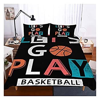 Basketball Bedding Set Twin Size,3D Sports Basketball Duvet Cover Set 2 Piece  1 Duvet Cover 1 Pillowcase  Basketball Bedspread for Kids