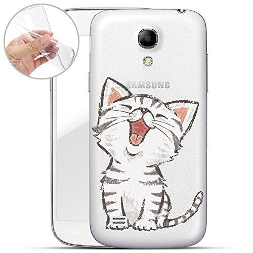 Finoo | Samsung Galaxy S4 Mini Weiche Flexible Silikon-Handy-Hülle | Transparente TPU Cover Schale mit Motiv | Tasche Case Etui mit Ultra Slim Rundum-Schutz | Kleine Katze