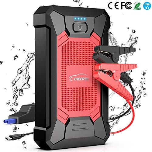 YABER Booster Batterie, 800A 12000mAh IP66 Étanche Booster de Batterie Voiture Moto (Jusqu'à 5,0L de Essence 4,0L Diesel) Robuste Jump Starter avec USB et Lamp LED, Kit Pinces Crocodiles