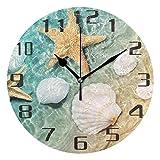 Meili Shop Reloj de Escritorio Redondo del Reloj de Pared de la Concha Marina de la Estrella de mar de la Playa para la decoración de la Escuela del Ministerio del Interior