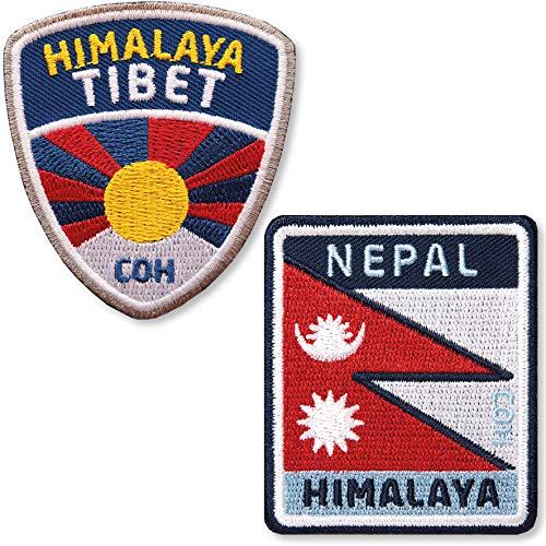 Club of Heroes 2er-Set Tibet + Nepal Aufnäher 60 mm gestickt/Himalaya Abzeichen Flag Patch Aufbügler Sticker Wappen Patches für Kleidung Rucksack/Reiseführer Bergsteigen Flagge Fahne