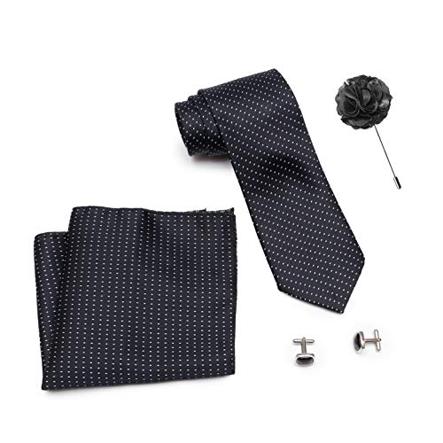 Axlon Men Formal/Casual Weaved Polyester Neck Tie Pocket Square Accessory Gift Set with Cufflinks and Brooch Pin – Black (Free Size, ltr_824)